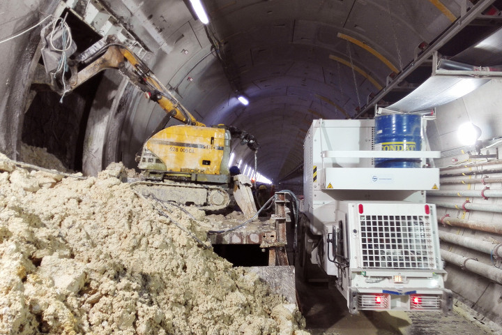 Brokk 160 Demolition Robot with SB302 breaker tunneling a cross passage