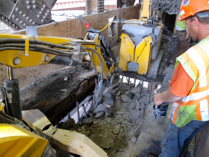 Brokk machines on a bridge renovation