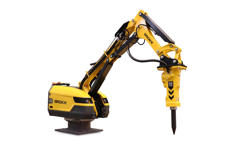 Brokk demolition robot mounted on pedestal